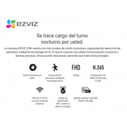Cámara IP EZVIZ, C3WN, wifi, Full HD, 1080p, Audio bidireccional, Protección IP66, Visión Nocturna, Interior/Exterior