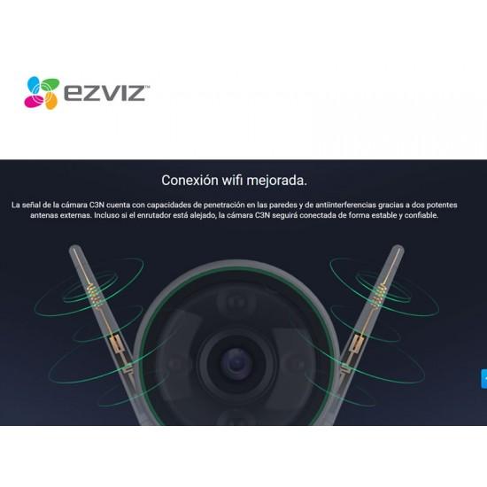 Cámara IP EZVIZ, C3WN, wifi, Full HD, 1080p, Audio bidireccional, Protección IP66, Visión Nocturna, Interior/Exterior