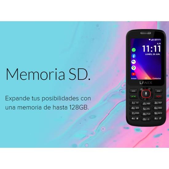 """Celular LANIX U340 Color Negro, SKU 28384, Sistema KaiOS, pantalla 2.4"""" QVGA, Cámara Trasera 1.3 Mpx, Procesador Mediatek MTK6572, Batería 800 mAh"""
