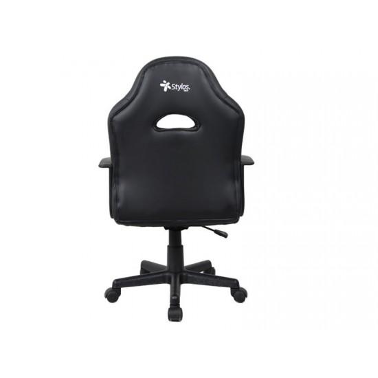 Silla Gamer, Stylos STGSGR1S, silla para videojuegos, Descansabrazo para juegos asiento acolchado Negro, Gris